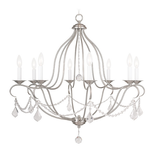 Livex Lighting Livex Lighting Chesterfield Brushed Nickel Crystal Chandelier 6428-91