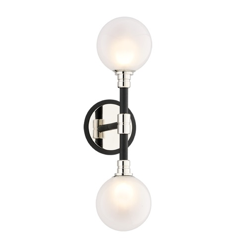 Troy Lighting Mid-Century Modern Sconce Black and Polished Nickel Andromeda by Troy Lighting B4822