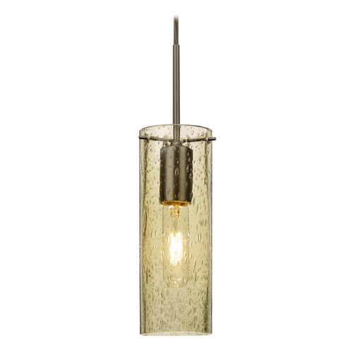 Besa Lighting Besa Lighting Juni Bronze Mini-Pendant Light with Cylindrical Shade 1JT-JUNI10GD-BR