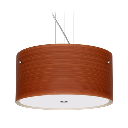 Besa Lighting Modern Pendant Light with Brown Glass in Satin Nickel Finish 1KV-4008CH-SN