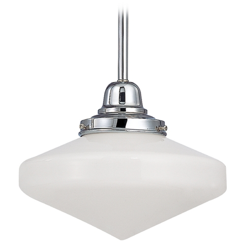 Design Classics Lighting 10-Inch Schoolhouse Mini-Pendant Light in Chrome Finish FB4-26 / GE10