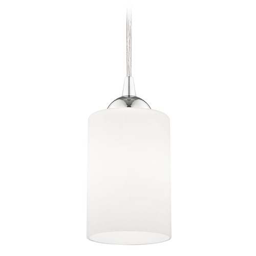 Design Classics Lighting Chrome Mini-Pendant Light with White Cylinder Glass 582-26 GL1028C