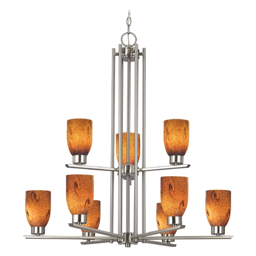 Design Classics Lighting Chandelier with Brown Art Glass in Satin Nickel - 9-Lights 1122-1-09 GL1001D