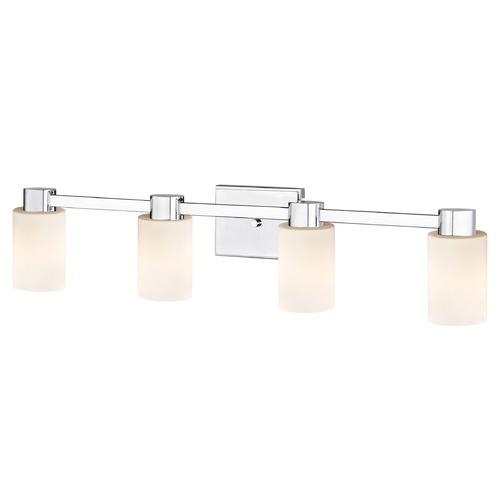 Design Classics Lighting 4-Light White Glass Bathroom Vanity Light Chrome 2104-26 GL1028C