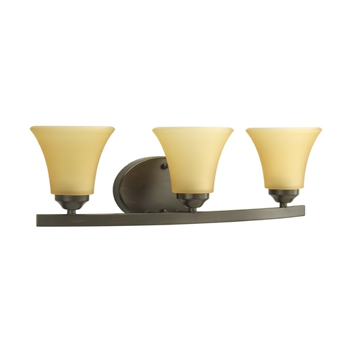 Progress Lighting Progress Bathroom Light with Brown Glass in Antique Bronze Finish P2010-20