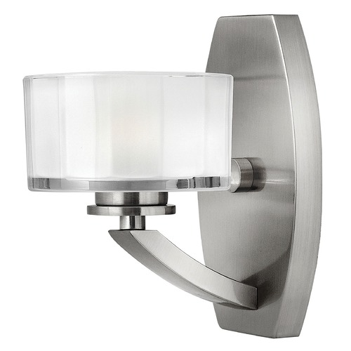 Hinkley Lighting Sconce with White Glass in Brushed Nickel Finish 5590BN