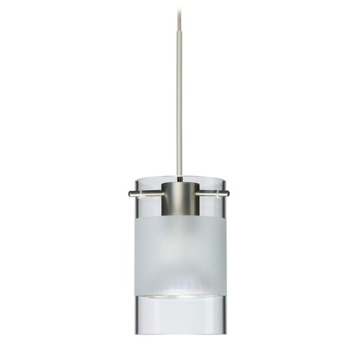 Besa Lighting Besa Lighting Scope Satin Nickel Mini-Pendant Light with Cylindrical Shade 1XT-6524EC-SN