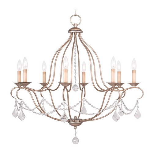 Livex Lighting Livex Lighting Chesterfield Antique Silver Leaf Crystal Chandelier 6428-73