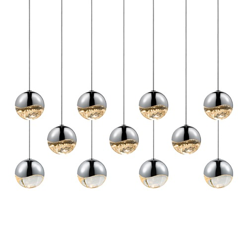 Sonneman Lighting Sonneman Grapes Polished Chrome 11 Light LED Multi-Light Pendant   2922.01-MED