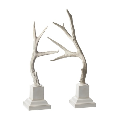 Dimond Home Weathered Resin Buck Antlers On White Base - Set Of 2 225019