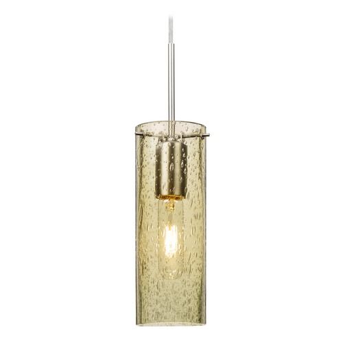 Besa Lighting Besa Lighting Juni Satin Nickel Mini-Pendant Light with Cylindrical Shade 1JT-JUNI10GD-SN