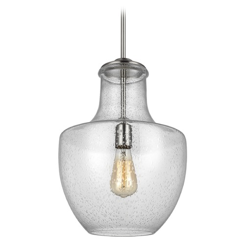 Sea Gull Lighting Sea Gull Lighting Baylor Satin Nickel Pendant Light with Urn Shade P1461SN