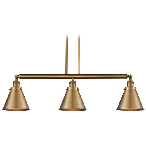 Innovations Lighting Innovations Lighting Appalachian Brushed Brass Island Light with Conical Shade 213-BB-S-M13-BB