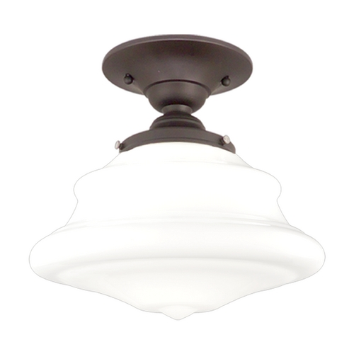 Hudson Valley Lighting Semi-Flushmount Light with White Glass in Old Bronze Finish 3409F-OB