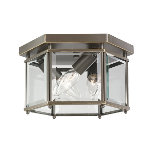 Sea Gull Lighting Flushmount Light with Clear Glass in Heirloom Bronze Finish 7648-782