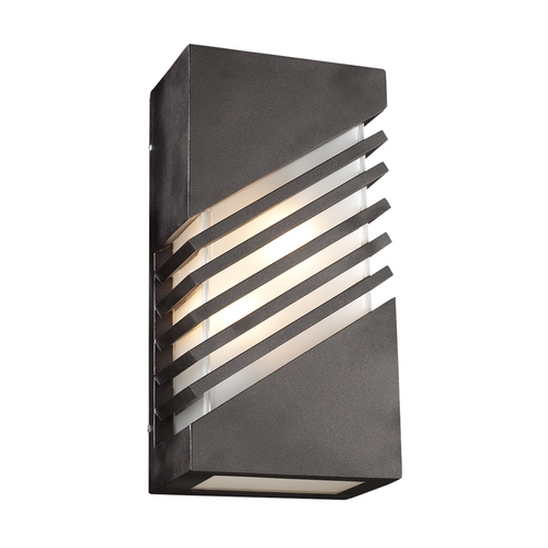PLC Lighting Modern Outdoor Wall Light with White Glass in Bronze Finish 16606 BZ