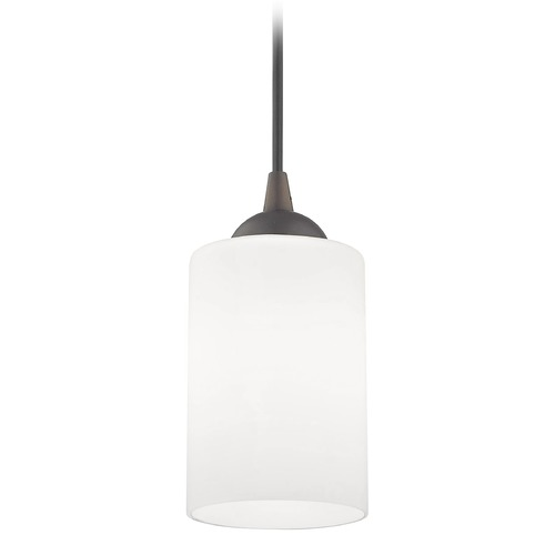 Design Classics Lighting Bronze Mini-Pendant Light with White Cylinder Glass 582-220 GL1028C
