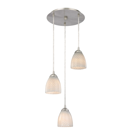 Design Classics Lighting Modern Multi-Light Pendant Light with White Glass and 3-Lights 583-09 GL1020MB