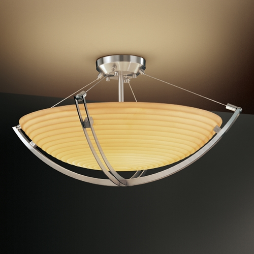 Justice Design Group Justice Design Group Porcelina Collection Semi-Flushmount Light PNA-9712-35-SAWT-NCKL