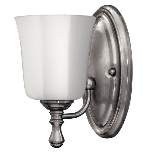 Hinkley Lighting Sconce with White Glass in Brushed Nickel Finish 5010BN