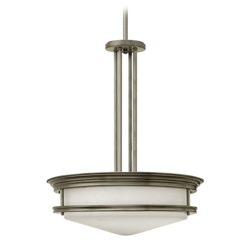 Hinkley Lighting Drum Pendant Light with White Glass in Antique Nickel Finish 3305AN