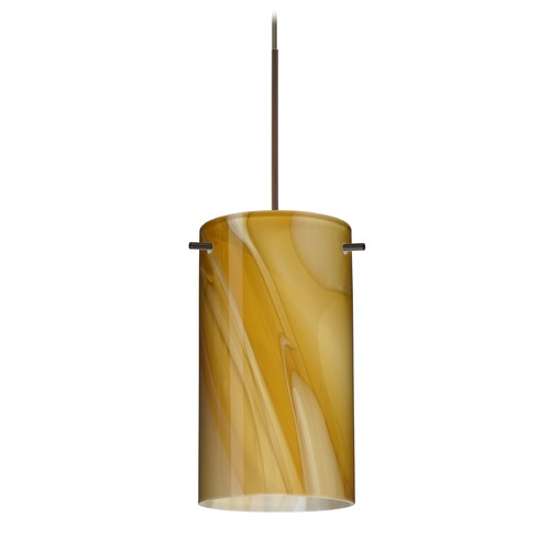 Besa Lighting Besa Lighting Stilo 7 Bronze LED Mini-Pendant Light with Cylindrical Shade 1XT-4404HN-LED-BR