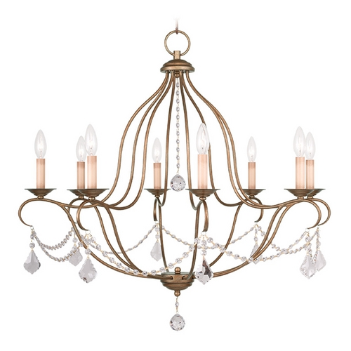 Livex Lighting Livex Lighting Chesterfield Antique Gold Leaf Crystal Chandelier 6428-48