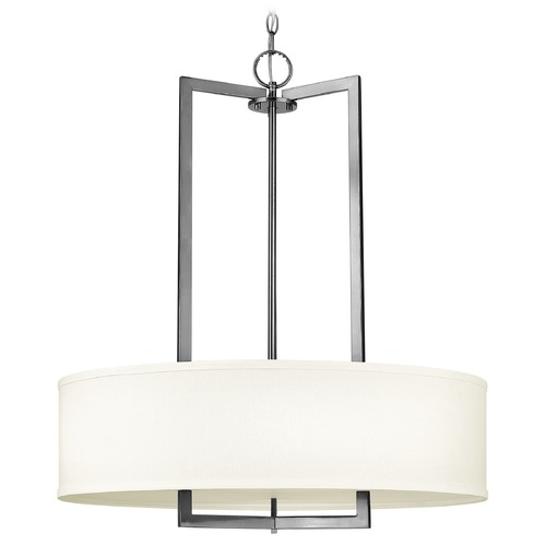 Hinkley Lighting Hinkley Lighting Hampton Antique Nickel Pendant Light with Drum Shade 3204AN-GU24