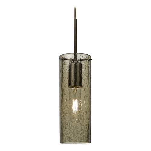 Besa Lighting Brown Seeded Glass Mini-Pendant Light Bronze Juni by Besa Lighting 1JT-JUNI10LT-BR