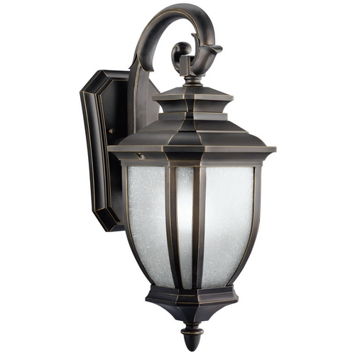 Kichler Lighting Kichler Outdoor Wall Light with White Glass in Rubbed Bronze Finish 11002RZ