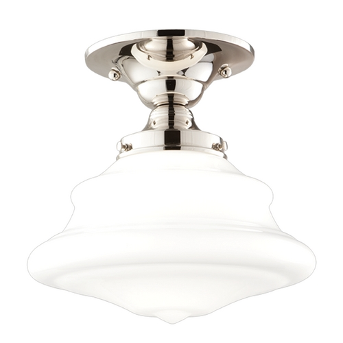 Hudson Valley Lighting Semi-Flushmount Light with White Glass in Polished Nickel Finish 3409F-PN