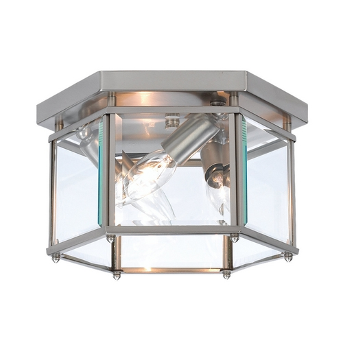 Sea Gull Lighting Flushmount Light with Clear Glass in Brushed Nickel Finish 7648-962