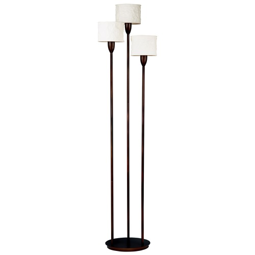 Kenroy Home Lighting Modern Torchiere Lamp with White Paper Shades in Oil Rubbed Bronze Finish 30673ORB