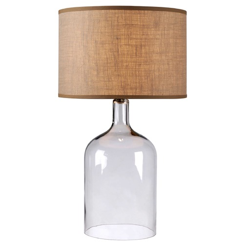 Kenroy Home Lighting Modern Table Lamp with Brown Shade in Clear Glass Finish 32261CLR