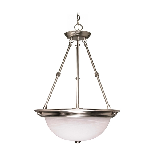 Nuvo Lighting Pendant Light with Alabaster Glass in Brushed Nickel Finish 60/204