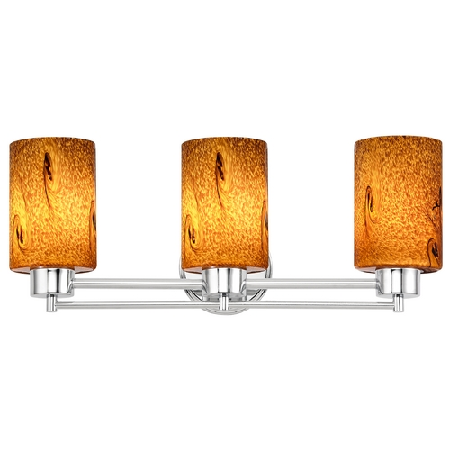 Design Classics Lighting Modern Bathroom Light with Brown Art Glass in Chrome Finish 703-26 GL1001C