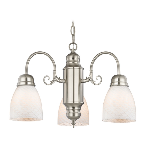 Design Classics Lighting Mini-Chandelier with White Art Glass in Satin Nickel Finish 708-09 GL1020MB