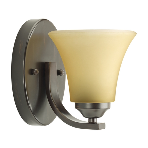 Progress Lighting Progress Sconce Wall Light with Brown Glass in Antique Bronze Finish P2008-20