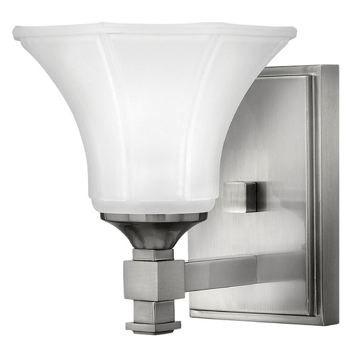Hinkley Lighting Sconce with White Glass in Brushed Nickel Finish 5850BN