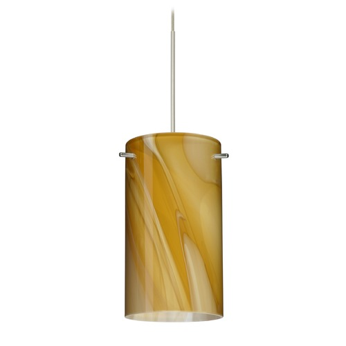 Besa Lighting Besa Lighting Stilo 7 Satin Nickel LED Mini-Pendant Light with Cylindrical Shade 1XT-4404HN-LED-SN