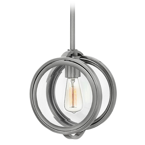 Hinkley Lighting Hinkley Lighting Fulham Polished Antique Nickel Pendant Light with Globe Shade 3927PL