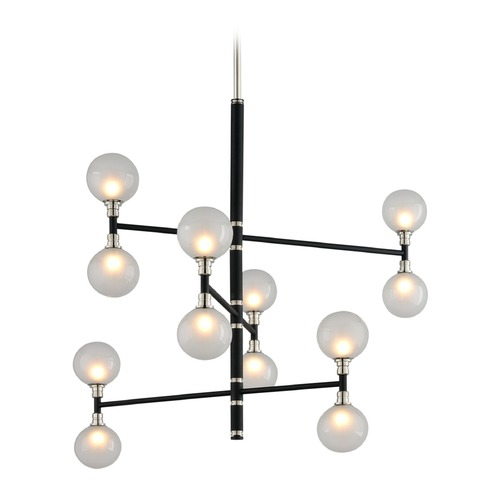 Troy Lighting Mid-Century Modern Pendant Light Black and Polished Nickel Andromeda by Troy Lighting F4826