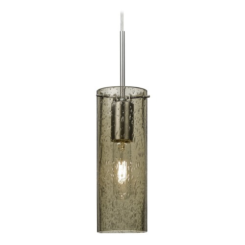Besa Lighting Besa Lighting Juni Satin Nickel Mini-Pendant Light with Cylindrical Shade 1JT-JUNI10LT-SN