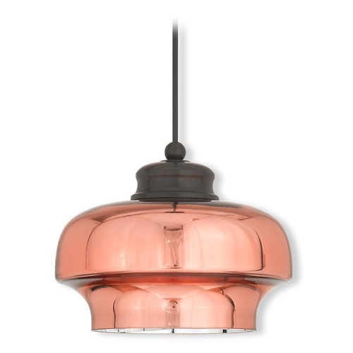 Livex Lighting Livex Lighting Art Glass Mini Pendant English Bronze Mini-Pendant Light with Bowl / Dome Shade 40631-92