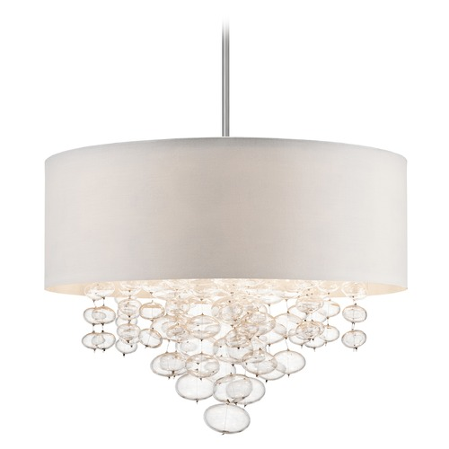 Elan Lighting Elan Lighting Piatt Chrome Pendant Light with Drum Shade 83245