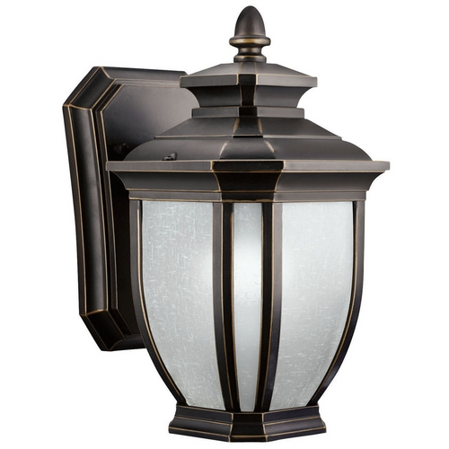 Kichler Lighting Kichler Outdoor Wall Light with White Glass in Rubbed Bronze Finish 11001RZ