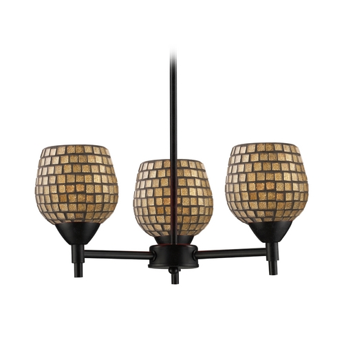 Elk Lighting Mini-Chandelier with Art Glass in Dark Rust Finish 10154/3DR-GLD