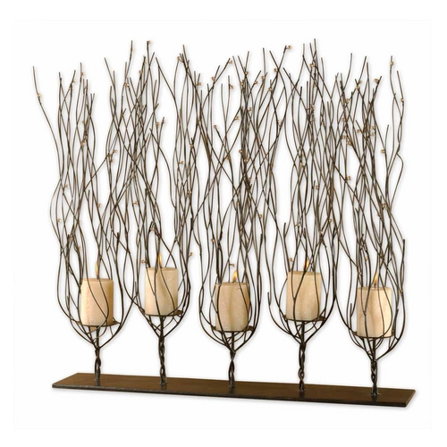 Uttermost Lighting Modern Candle Holder in Dark Brown Finish 20605