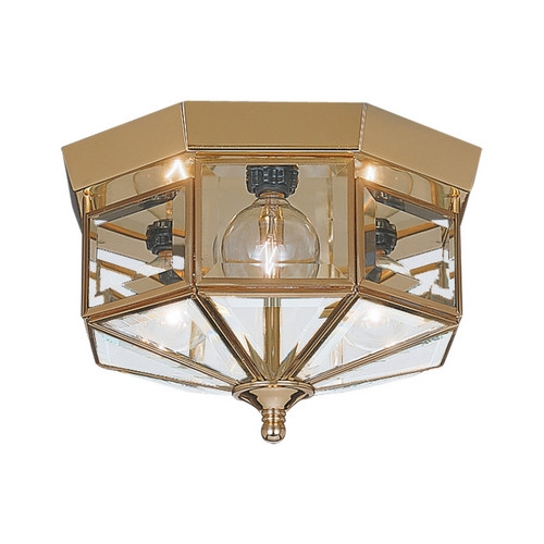 Sea Gull Lighting Flushmount Light with Clear Glass in Polished Brass Finish 7661-02