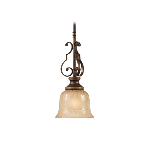 Crystorama Lighting Mini-Pendant Light with Amber Glass 7421-BU